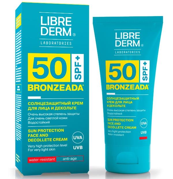 Librederm для лица идекольте водостойкий BRONZEADA SPF 50